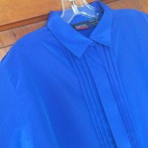 Vintage Blue Shortsleeve Buttonup Polyester Blouse